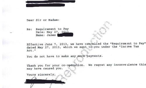 I-UV- Storie di libertà – lettera di rinuncia a richiesta di pagamento al'Agenzia delle entrate Canadese