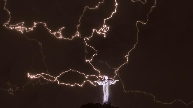 BRAZIL-WEATHER-STORM-LIGHTNING-CHRIST THE REDEEMER