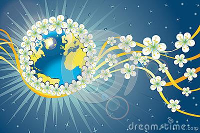 planet-earth-orbit-spring-flowers-ribbon-38225752