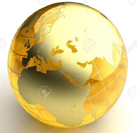 6066347-A-miniature-model-of-the-Earth-in-the-form-of-a-ball-made-of-amber-as-the-continents-with-a-golden-c-Stock-Photo