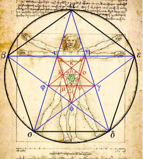 uomo vitruviano stella 5 punti pentagramma