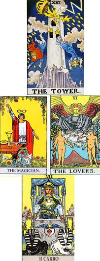 tarocchi 16 torre mago innamorati carro