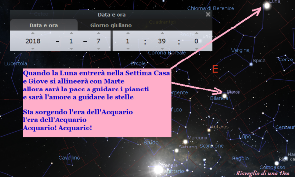 7 gennaio 2018 alle 1:39 – Era del Aquario- Quando la Luna entrerà nella Settima Casa e Giove si allineerà con Marte…..